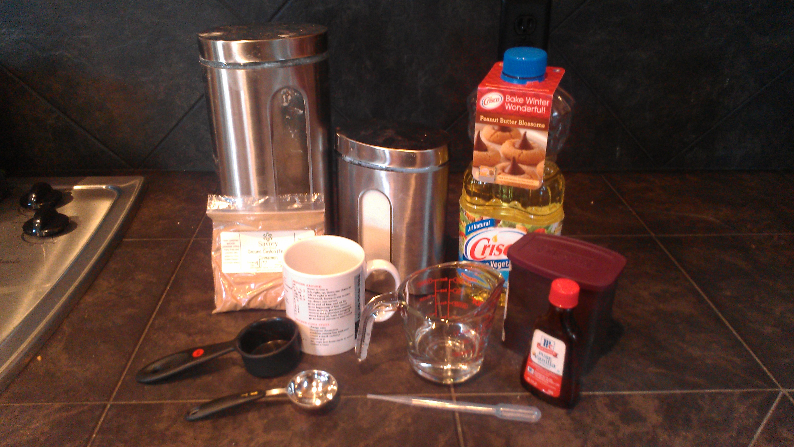 Almost everything you need for brownie in a mug