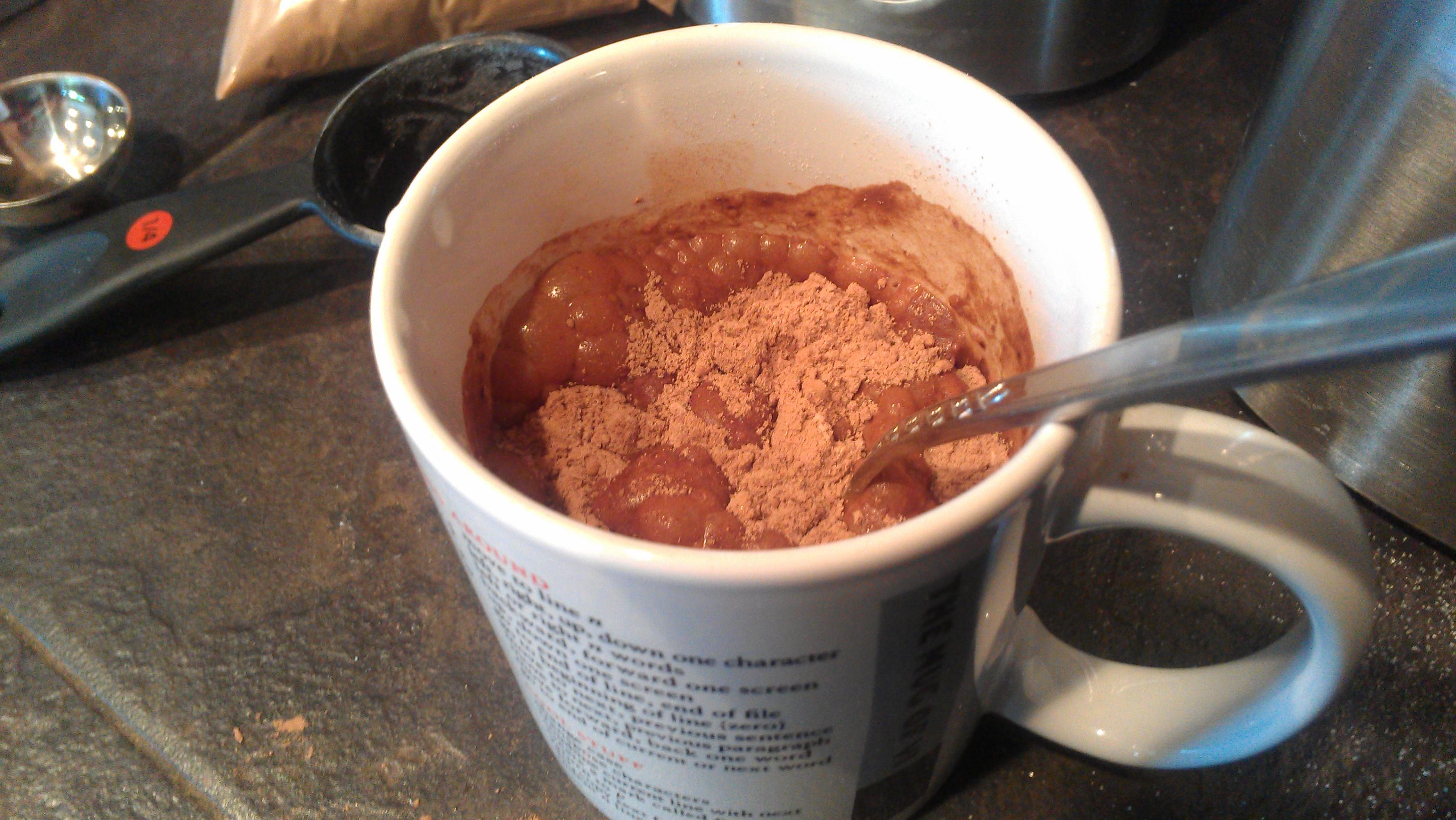Bubbling uncooked mug o' brownie