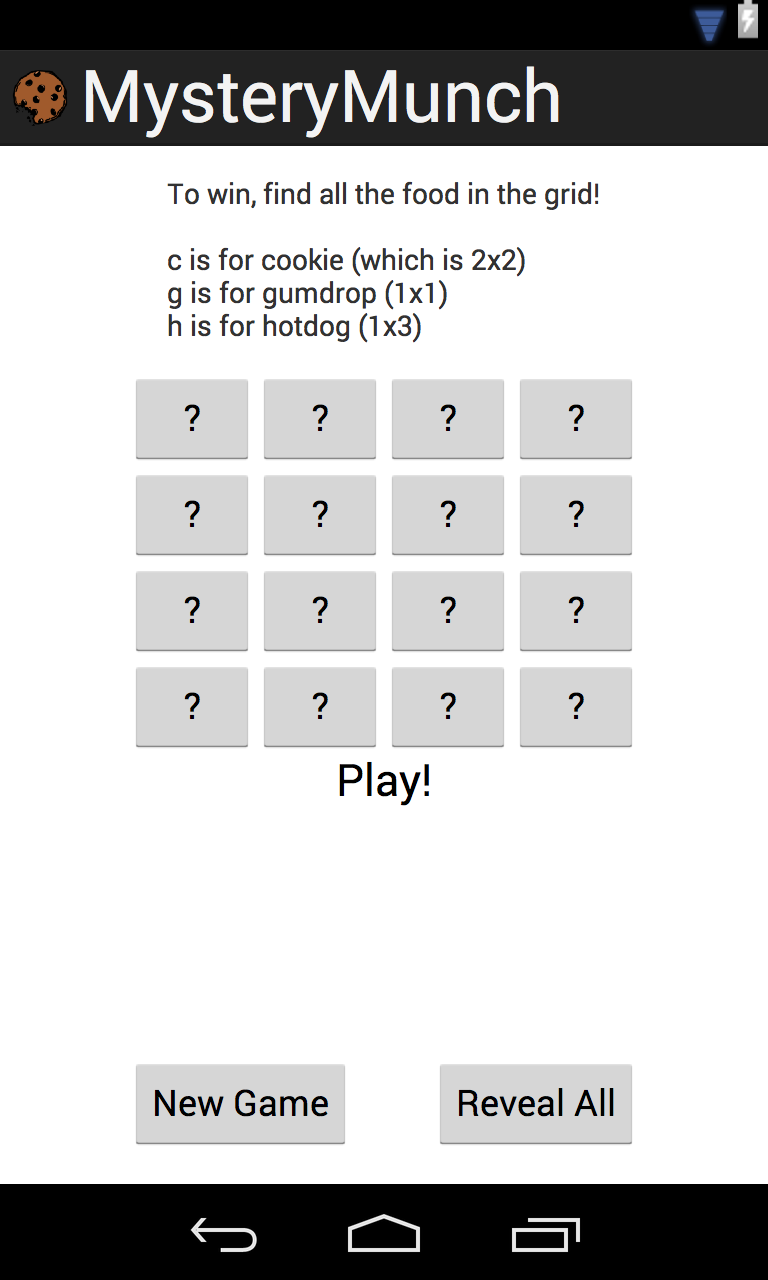 """Screenshot for """"Mystery Munch"""" -- my very simple android game"""
