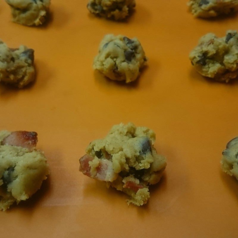 Spiced bacon chocolate chip cookies ready to be baked