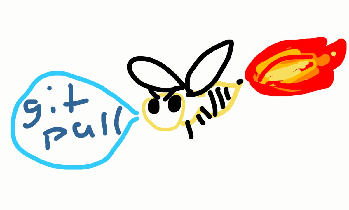 "A wasp saying ""git pull"" while fire comes out of its butt."