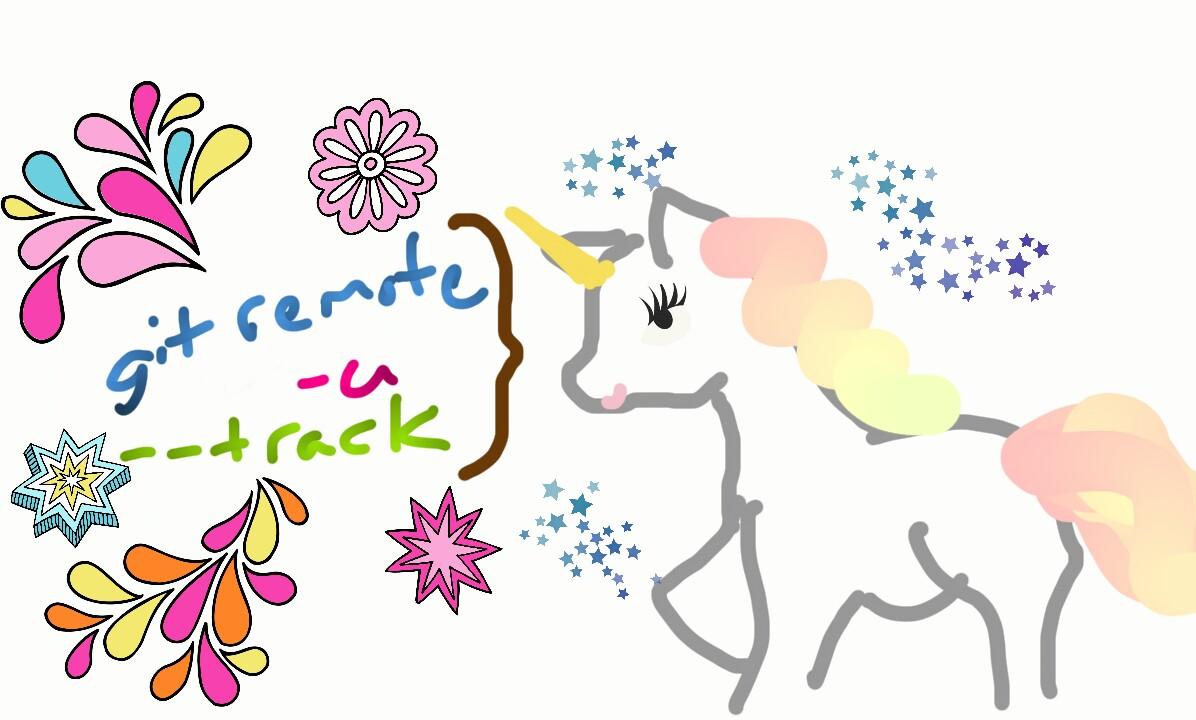 "A unicorn saying ""git remote"" ""-u"" and ""--track"""