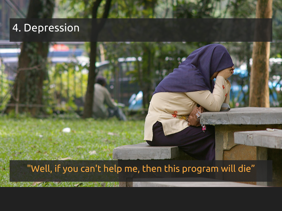 "[Slide 11] has a title of ""4. Depression"" and a quote that reads ""Well, if you can't help me, then this program will die"" and a picture of a young woman sitting at a picnic table with her face in her hands"