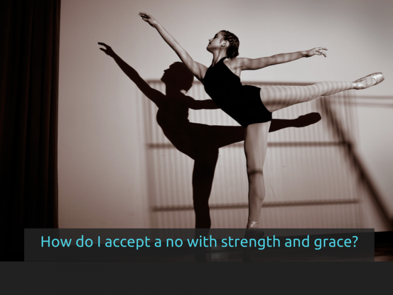 "[Side 15] has a picture of a ballerina in a practice outfit holding a pose that requires strength and below the words ""How do I accept a no with strength and grace?"""