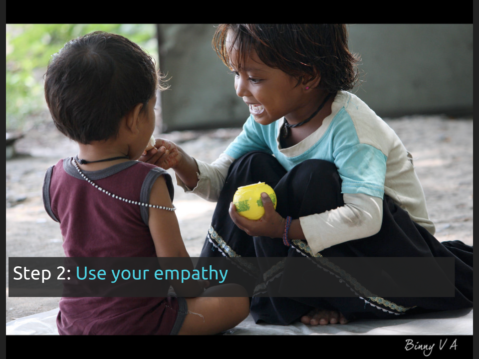 "[Slide 27] has a picture of two kids sharing food and reads ""Step 2: use your empathy"""