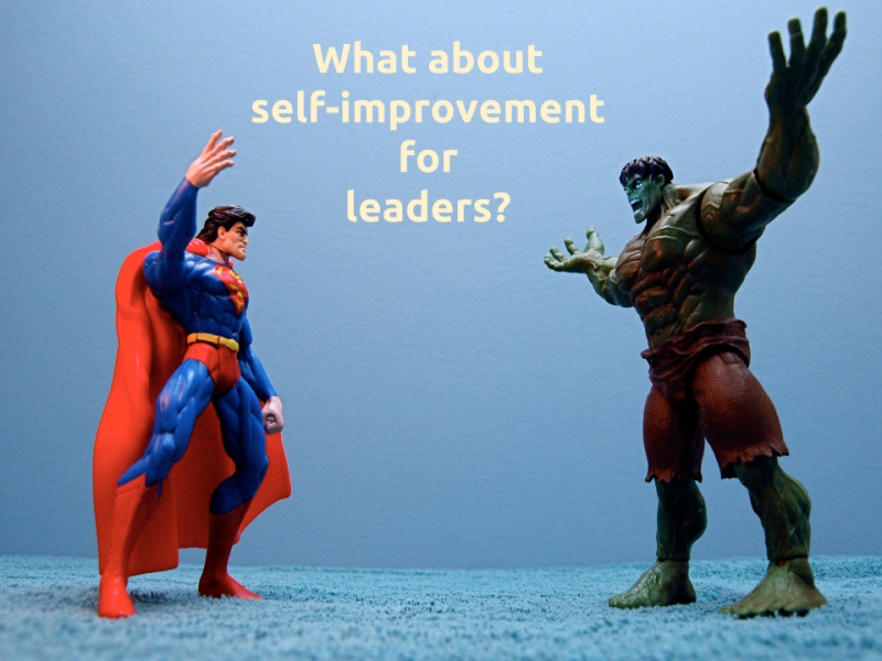 "[Slide 3] reads ""What about self-improvement for leaders?"" and shows Superman and The Hulk action figures, apparently in the middle of an argument"