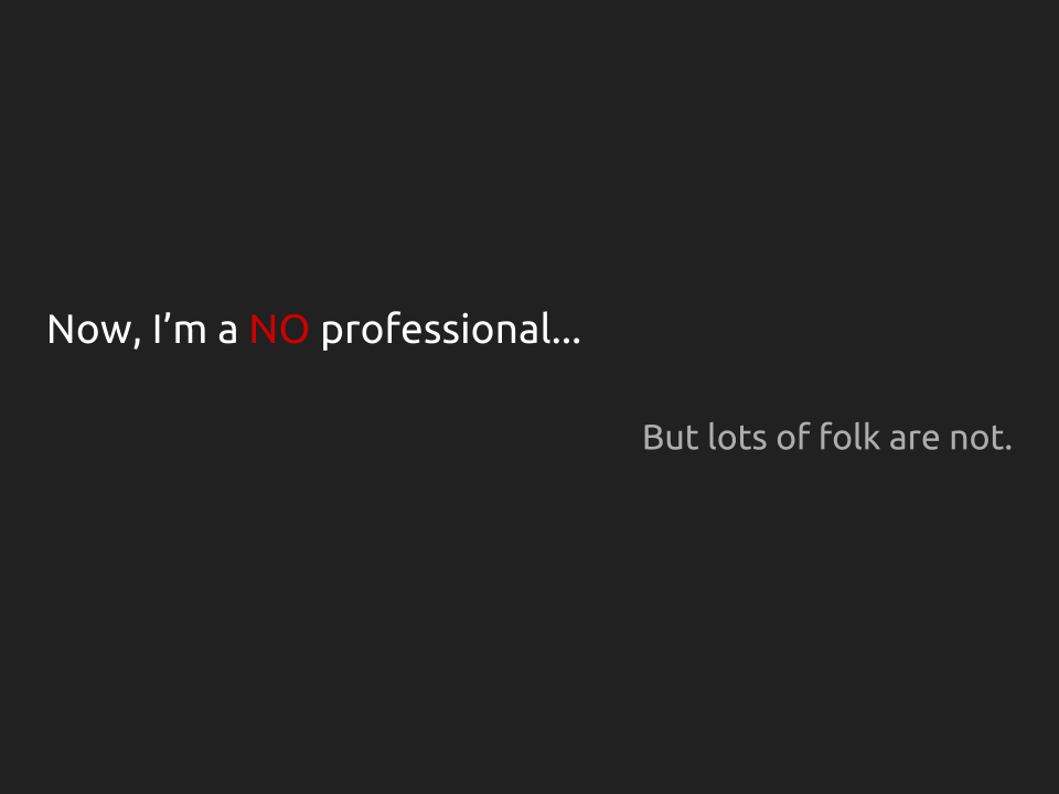 "[Slide 6] reads ""Now, I'm a NO professional... But lots of folk are not."" there is no image on this slide, only stark text."