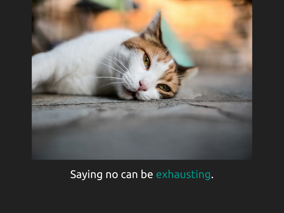 "[Slide 7] reads ""Saying no can be exhausting"" with emphasis on the word exhausting. There is a picture of a tired looking kitty on the slide."