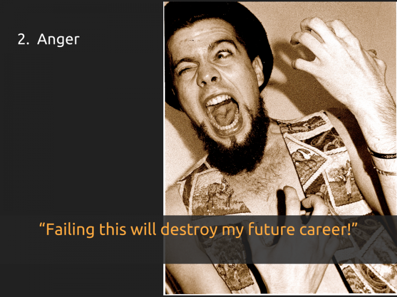 "[Slide 2] has a title that reads ""2. Anger"" and a quote that says ""Failing this will destroy my future career!"" over a picture of a young man making weird face that could be interpreted as anger"